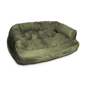 Snoozer Luxury Micro Suede Overstuffed Pet Sofa in Olive, 20