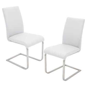 Set of 2 Foster Contemparary Stainless Steel Dining Chairs - White - LumiSource