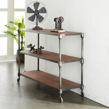 """Decmode - Industrial Style Rectangular Metal & Teak Wood Rack with Wheels and Two Shelves, 48"""" x 36"""""""