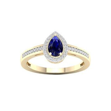 Imperial Gemstone 10K Yellow Gold Pear Blue Sapphire 1/8 CT TW Diamond Halo Women's Ring