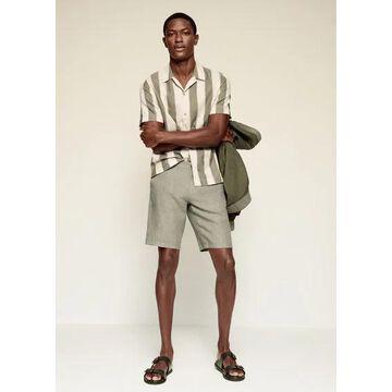 MANGO MAN - Linen chino Bermuda shorts khaki - 26 - Men