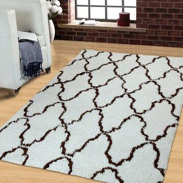 Superior Trellis Hand Woven and Soft Shag Area Rug