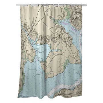 SH12289OC 70 x 72 in. Occoquan, VA Nautical Map Shower Curtain