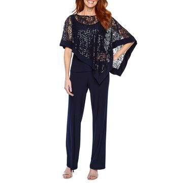 R & M Richards Short Sleeve Cape 2 pc Pant Set