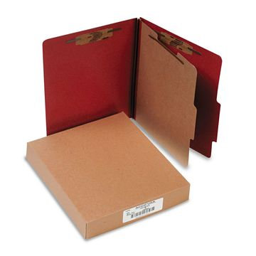 Acco Pressboard 25-Pt Classification Folders Letter 4-Section Earth Red 10/Box
