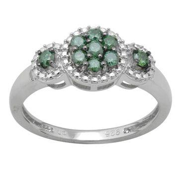 Divina Sterling Silver 1/3ct TDW Green Diamond Ring