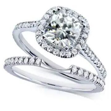 Annello by Kobelli 14k White Gold 1 1/2ct TGW Near Colorless (H-I) Moissanite with Diamond Halo Bridal Rings Set (10.5)