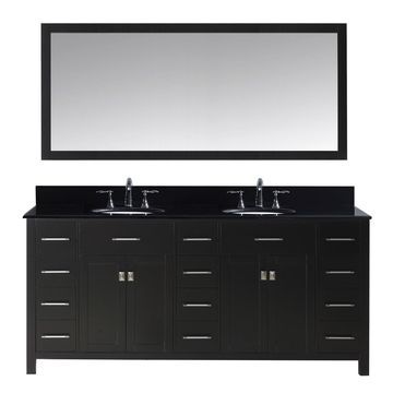 Virtu USA Caroline Parkway 72-inch Double Bathroom Vanity Set with Black Granite Top with Round Basins and Faucet Option
