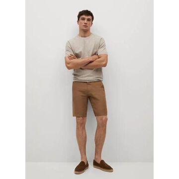 MANGO MAN - 100% linen shorts tobacco brown - 34 - Men