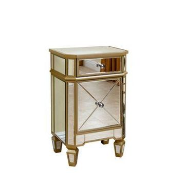 Abbyson Living Alexis Mirrored Cabinet Chest in Silver