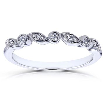 Annello by Kobelli 10k White Gold Stackable Diamond Ring
