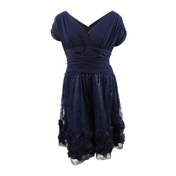 SL Fashions Women's Plus Size Rosette Fit & Flare Dress - Navy