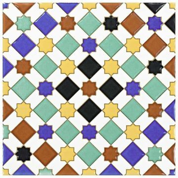 SomerTile 7.875x7.875-inch Hispalence Giralda Ceramic Wall Tile (25 tiles/11.46 sqft.) (White/Blue/Black)