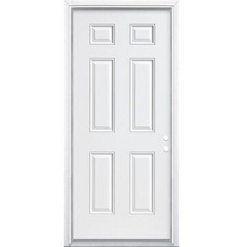 Masonite 32-in x 80-in Steel Left-Hand Inswing Primed Prehung Single Front Door with Brickmould in White   740787