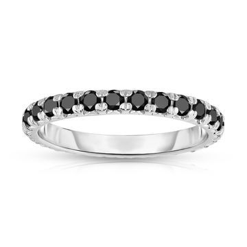 Noray Designs 14K White Gold Black Diamond Eternity Band (0.90 Ct-1.10 cttw)