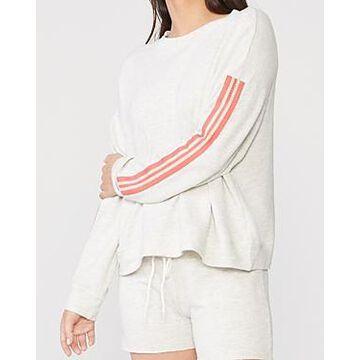 Monrow Boxy Striped Sleeve Sweatshirt