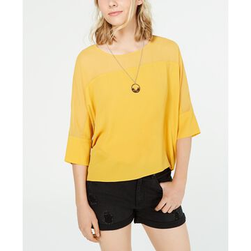 Juniors' Crepe Boxy Necklace Top