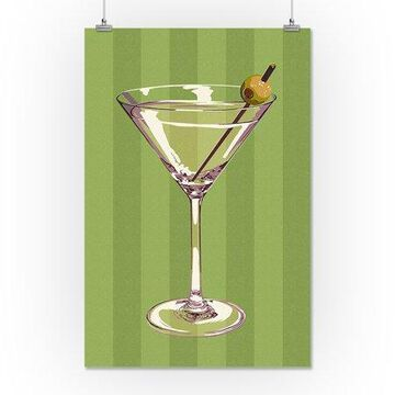 Martini Glass - Letterpress - Lantern Press Poster (16x24 Giclee Gallery Print, Wall Decor Travel Poster)