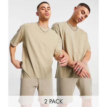 Jack & Jones Originals 2 pack oversize t-shirt & shorts set in beige-Neutral
