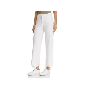 DL1961 Womens Hepburn Wide Leg Jeans Distressed High Rise