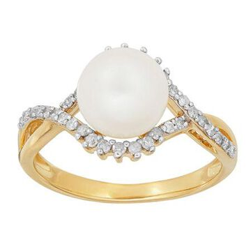 Sofia Sofia Womens 1/5 CT. T.W. Genuine White Cultured Freshwater Pearl 10K Gold Cocktail Ring Family