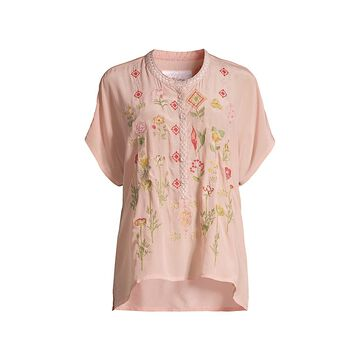 Johnny Was Botony Silk Embroidered Blouse
