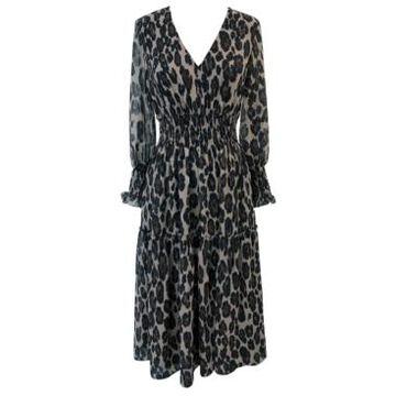 Taylor Petite Animal-Print Smocked-Chiffon A-Line Dress