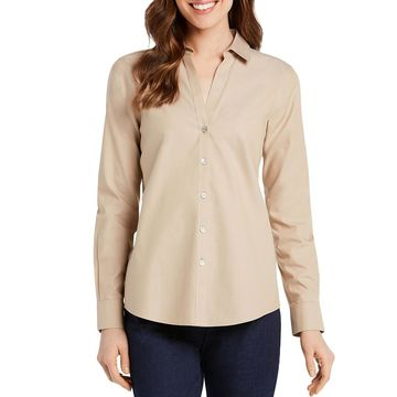 Foxcroft Womens Chrissy Cotton Fitted Button-Down Top