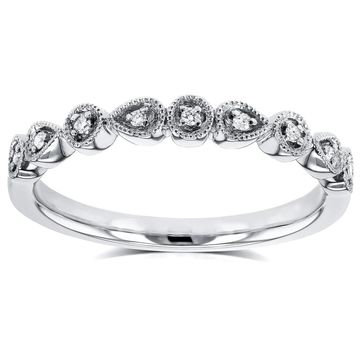Annello by Kobelli 10k White Gold Diamond Accented Milgrain Ring