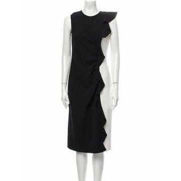 Crew Neck Midi Length Dress Black