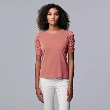 Women's Simply Vera Vera Wang Ruched Elbow Sleeve Tee, Size: Large, Med Pink