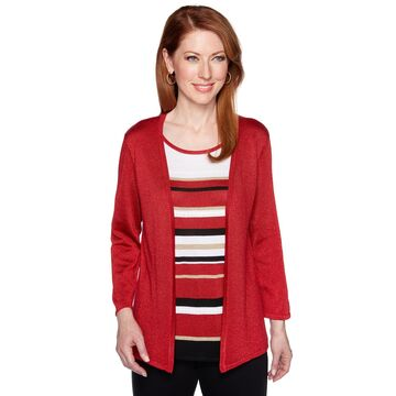 Women's Alfred Dunner Striped Lurex Mock-Layer Sweater