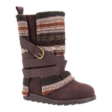 MUK LUKS Women's Nikki Boot Medium Brown Polyester/Synthetic/Acrylic