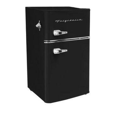 Frigidaire Retro 3.2 Cu Ft Two Door Mini Fridge with Freezer, Black