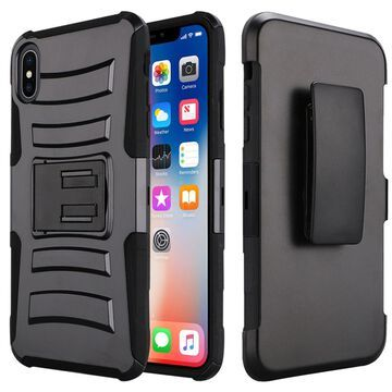 Insten Dual Layer Hybrid Stand Hard Snap-in Holster Case Cover For Apple iPhone XR - Black