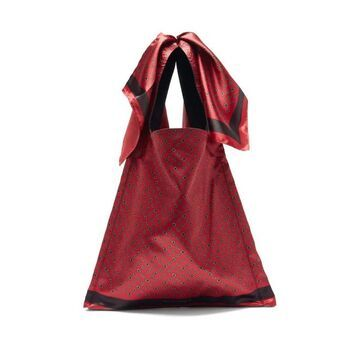 Maison Margiela - Tile-printed Foulard And Leather Tote Bag - Mens - Black Multi