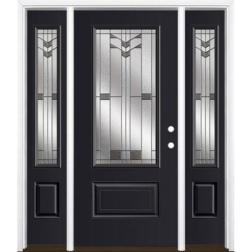 Masonite Frontier 64-in x 80-in Fiberglass 3/4 Lite Left-Hand Inswing Peppercorn Painted Prehung Single Front Door with Sidelights with Brickmould