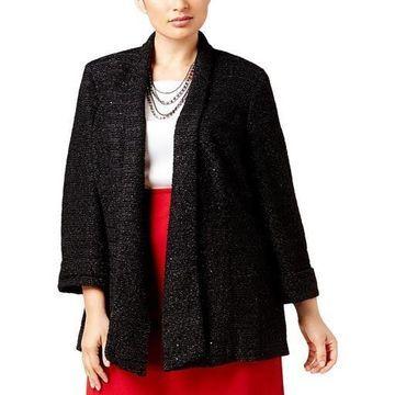 Kasper Womens Plus Embellished Solid Blazer