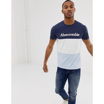 Abercrombie & Fitch legacy logo print color block t-shirt in navy/white/sky blue