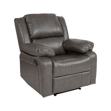 Offex Contemporary Leather Recliner - Gray