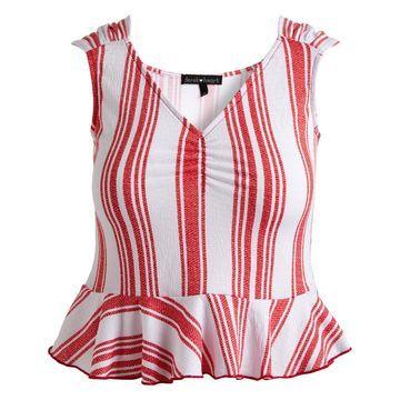Derek Heart Women's Blouses Red - Red Stripe V-Neck Peplum Top - Juniors