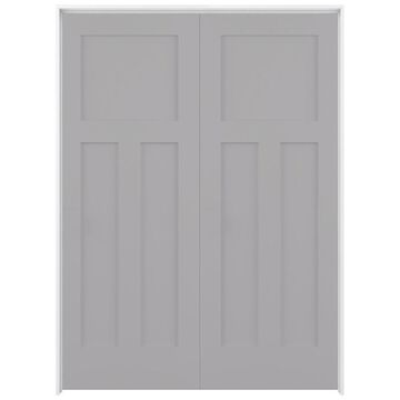 ReliaBilt Shaker 64-in x 80-in Driftwood 3-Panel Craftsman Solid Core Prefinished Pine MDF Universal Inswing Double Prehung Interior Door in Gray
