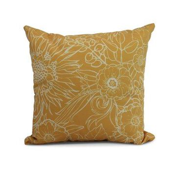 Simply Daisy, 26 x 26 Inch, Zentangle 4, Floral Print Pillow, Gold