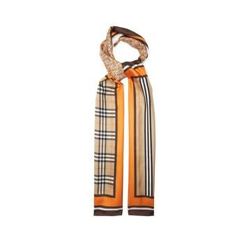 Burberry - Tb Logo-print Silk-faille Scarf - Womens - Orange Multi
