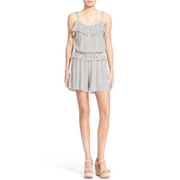 See by Chloe Ivory Womens Size US 8 FR 40 Striped Ruffle Romper