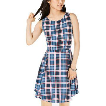 Be Bop Womens Juniors Plaid Sleeveless Casual Dress