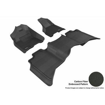 3D MAXpider 2009-2012 Dodge Ram 1500 Crew Cab Front & Second Row Set All Weather Floor Liners in Black with Carbon Fiber Look