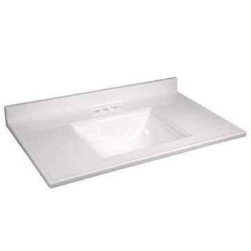 Design House 557645 Camilla Cultured Marble Vanity Top 37-inch, Solid White