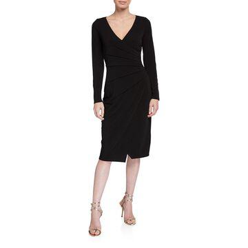 Long-Sleeve Pleated-Side Bodycon Dress