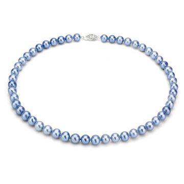DaVonna Sterling Silver 7-8mm Blue Freshwater Pearl Necklace